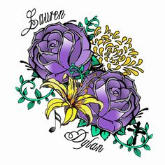 Purple Rose Bouquet Arm Temporary Tattoo Pack