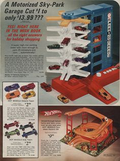Hot Wheels & Accessories in Sears Christmas Wish Book Catalog, 1971, by Wishbook, via Flickr.  I had the hill racetrack on the bottom.