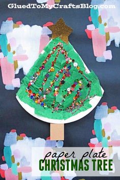 Sequined Paper Plate Christmas Tree - Kid Craft