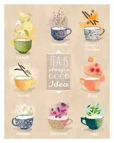 Tea is always good idea - artprint / illustration - My Cup of Tea - Tee Kunst, Decoupage, Café Chocolate, Tea Quotes, Tea Time Quotes, Buch Design, Tea And Books, Doodles, Cuppa Tea