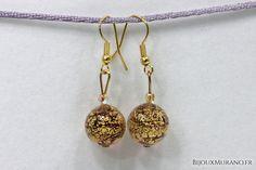 Boucles d'oreilles Palla Rouge Pailleté Or #BijouxMurano #Murano - BijouxMurano.fr