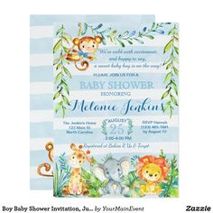 Design your Boy Baby Shower Invitations baby shower invitations with Zazzle! Browse from our wide selection of fully customizable shower invitations or create your own today! Baby Shower Cards, Baby Shower Parties, Baby Shower Themes, Baby Boy Shower, Shower Ideas, Shower Party, Shower Gifts, Safari Invitations, Zazzle Invitations