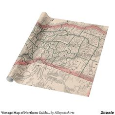 Vintage Map of Northern California (1883) Wrapping Paper