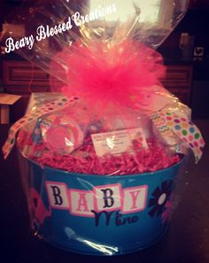 Sweet Baby Girl Gift Bucket, Baby Shower Gift, Baby Gift Basket, Baby Girl