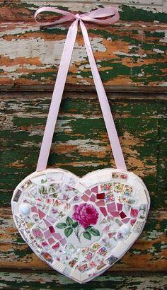 Mosaic Heart with Vintage China via Etsy