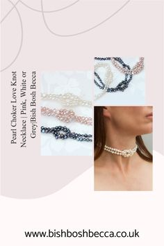 A modern white, pink or grey pearl choker necklace with a hand tied love knot. Finished with a heart shaped clasp in silver or gold. Show your love for her on Valentines or her birthday. #jewellery #necklace #choker #pearl #love #white #pink #grey #valentines #birthday #gift #women Pearl Choker Necklace, Knot Necklace, Valentine Hearts, Valentines, Pearl Grey, Becca, Pink Grey, Heart Shapes, Knots