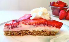 Skinny Pretzel-Crust Strawberry Cheesecake... Under 100 calories per slice!