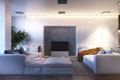 S House, Kiev, 2014 - Igor Sirotov Architect. Salon design blanc
