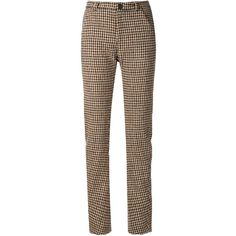Y / Project houndstooth trousers (6.870 CZK) ❤ liked on Polyvore featuring pants, brown, parker johnson, брюки, brown high waisted pants, high rise trousers, high-waist trousers, high-waisted trousers and button pants