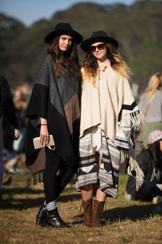 30+ Stylish Folks Spotted At Outside Lands #refinery29  http://www.refinery29.com/outside-lands-street-style#slide-2  Sisters Savannah and Shelby Dimarco in cool, coordinating ponchos.