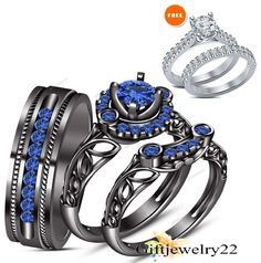 Sapphire Trio Set Engagement Ring Wedding Band 14K Black Gold His & Hers 1.32 CT