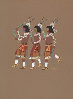 """Stephen Mopope, """"# 19 (Three Dancers),"""" c. Native American Heritage Month, Native American Art, American Indians, National Gallery Of Art, Art Object, Cowgirls, Native Americans, Dancers, Cowboys"""