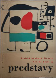 """Lubomir Blecha, poster for drama """"Visions"""", 1962, The regional puppet theater in Banská Bystrica, Czechoslovakia"""