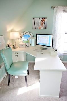 Office, chic, modern, white desk. filing cabinet, diy desk, corner desk, rug, lamp, wall art, diy home decor, vanity bedroom desk, office, chair, love, style, curtains, girls room, teen room #afflink