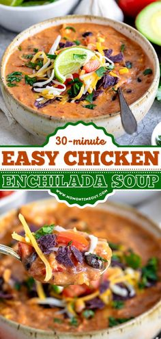 An easy dinner recipe in under 30 minutes! Loaded with chicken, black beans, corn, and tomatoes, this creamy, cheesy enchilada soup is comfort food in a bowl. You can't go wrong with this pasta idea! Easy Dinner Recipes, Soup Recipes, Cheesy Enchiladas, Chicken Enchilada Soup, Mexican Food Recipes, Ethnic Recipes, Soups And Stews, Salmon Burgers, Pasta