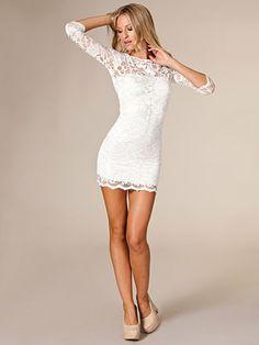 Slash Neck Lace Dress - John Zack - Cream - Party Dresses - Clothing - Women - Nelly.com Uk
