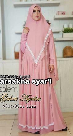 Gamis Pesta Syar'i Arsakha Syari Dress (Ready Stock Dan Made By Order) Muslim Fashion, Hijab Fashion, Islamic Clothing, Mode Hijab, Niqab, Scarves, Education, Formal Dresses, Womens Fashion