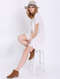 robe manche courte -blanc