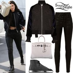 Kylie Jenner was spotted leaving Fred Segal after lunch wearing a Sacai Quilted Shell and Appliquéd Velvet Bomber Jacket ($1,323.00), Rag & Bone High Rise Lace Up Leather Pants ($1,095.00), her Hermès Crocodile Birkin Bag ($69,950.00) and Chanel Sneakers Mesh & Lambskin Sneakers (Not available online). You can find similar pants for less at Missguided ($54.00).