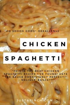 Chicken Spaghetti – this is the ultimate comfort food recipe! – Chicken Recipes Chicken Spaghetti – this is the ultimate comfort food recipe! Best Chicken Spaghetti Recipe, Chicken Spaghetti Recipes, Yummy Chicken Recipes, Chicken Spaghetti Casserole, Chicken Spaghetti Velveeta, Mexican Chicken Spaghetti, Recipe Chicken, Cheesy Spaghetti, White Spaghetti Recipe