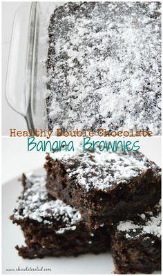 Thick fudgy banana brownies! No sugar, oil, or gluten on chocolatesalad.com