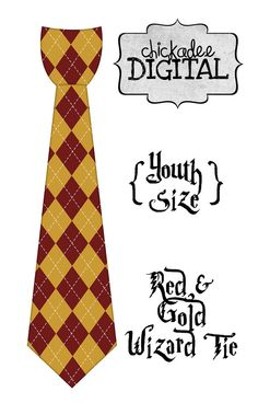 1 Wizard Red And Gold Argyle Printable DIY Iron On Tie Decal Boys Youth Size For Tshirts Harry PotterDecalTrustYouth