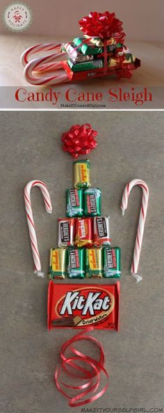Christmas Crafts candy Simple DIY Candy Cane Sleigh - 12 Wondrous DIY Candy Cane Sleigh Ideas That Will Leave Your Kids Open-Mouthed Christmas Candy Crafts, Christmas Party Favors, Holiday Crafts, Candy Cane Crafts, Candy Cane Christmas, Christmas Decorations Diy For Teens, Holiday Candy, Holiday Parties, Christmas Sleighs