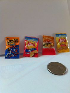set of 4 bags of chips by mindiscraftshop on Etsy, $5.00 I obsess over mini stuff