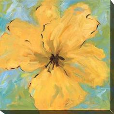 Artist Karen Wilkerson's 'Opulence I' floral oversized canvas art showcases a large golden flower contrasted with a background of blues and greens. This giclee print is part of a limited-edition set and comes with a certificate of authenticity.
