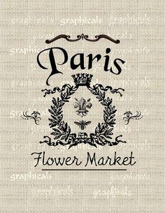 Digital image download  Vintage Paris sign fleur de by graphicals, $1.00