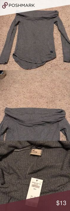 Hollister sweater Grey off the shoulder thin sweater/shirt Sweaters Crew & Scoop Necks