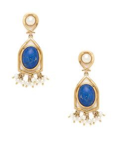 Vintage Lapis & Pearl Chandelier Earrings by Estate Fine Jewelry at Gilt