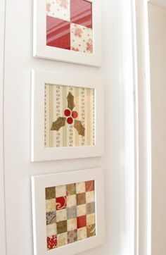 Picture framed quilt blocks... I see these blocks changed with the seasons above the bed!   or in the bathroom   or guestroom