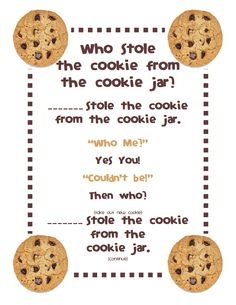 Gilchrist's Class: Who stole the cookie from the cookie jar? Gilchrist's Class: Who stole the cookie from the cookie jar? Freebie and a Peek at my Classroom :) – Kindergarten Lesson Plans Kindergarten Songs, Preschool Songs, Preschool Circle Time Songs, Transition Songs For Preschool, Preschool Transitions, Preschool Movement Songs, Preschool Assessment, Homeschool Kindergarten, Preschool Learning