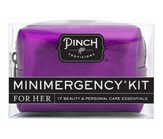 Carry-On Beauty Musts: Master Of Minis. Looking for one kit that does it all? This. Is. It. Minimergency Kit for Her by Pinch Provisions, $13, is a tiny pouch about the size of a sunglass case that holds a miniature version of just about every beauty product you could ever need during a beauty emergency. We're talking 17 savers including clear nail polish, lip balm, earring backs, deodorant and more. Consider it the Mary Poppins of beauty bags! #SelfMagazine