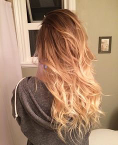Brown to blonde ombré done by my cousin!