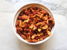 These Pizza Flavored Roasted Nuts with Sun Dried Tomatoes & Dried Herbs are packed with flavor but only require 6 ingredients to make! They're a great Gluten Free, Vegan, and Paleo snack to have on hand.