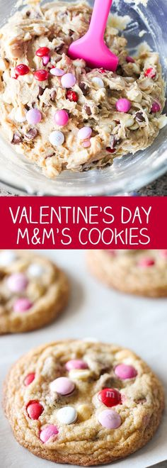 Valentine's Day M&M'S Cookies - loaded with M&M's, white chocolate chips and milk chocolate chips.
