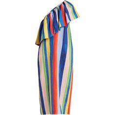 Mara Hoffman Rainbow Watercolour Stripe-print linen dress (6.095.980 IDR) ❤ liked on Polyvore featuring dresses, multi, striped dress, linen dresses, watercolor dress, asymmetrical dresses and blue linen dress