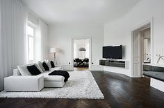 Black & white living space.