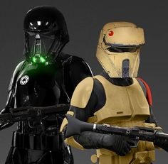 On the set of Star Wars Rogue One Shadow Trooper and Scout Trooper