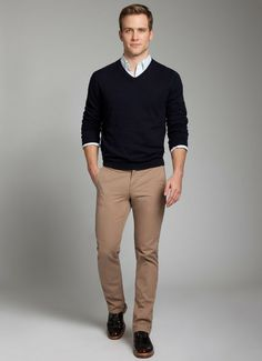 Bonobos-- light blue gingham oxford. navy blue cashmere sweater. khaki chinos. brown boots. real. easy. casual. style.