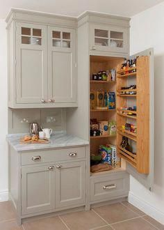 25 Smart Small Pantry Ideas to Maximize Your Kitchen Storage Space The modern kitchen is a space that demands plenty in terms of both ergonomics and aesthetics. You need to combine storage with smart displays and the Traditional Kitchen Cabinets, Kitchen Pantry Cabinets, Kitchen Cabinet Storage, Kitchen Organization, Storage Cabinets, Organization Ideas, Pantry Storage, Corner Cabinets, Traditional Kitchens