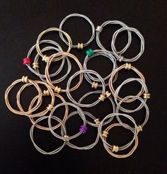 Stackable guitar string rings! Mix and match colors and styles!