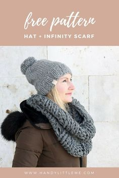 Make a super chunky infinity scarf and matching hat with this free knitting pattern. This pattern is great for any beginner knitters! Free Knitting Patterns For Women, Beginner Knitting Patterns, Knitting Ideas, Knitting Designs, Free Pattern, Infinity Scarfs, Grey Hat, Butterfly Dragon, Monarch Butterfly
