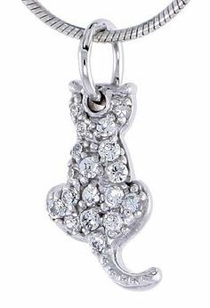 Sterling Silver Jeweled Sitting Cat Pendant, w/ Cubic Zirconia stones, 1/2 inch (15 mm) tall Sabrina Silver. $17.08