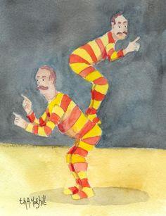 """Les acrobates australiens"", aquarelle / watercolor, by Th.A. Yoghill"