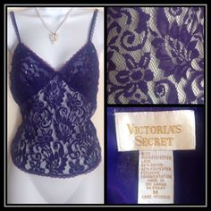 Vintage Victoria's Secret Lace Cami with Sequins Purple VS camisole from the early 1990s. Excellent condition. Victoria's Secret Intimates & Sleepwear