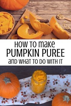 Pumpkin is the taste of fall but there's no need to buy canned pumpkin. You can easily make homemade pumpkin puree from scratch and have it to use all year long. Learn how to make and use pumpkin puree in this step by step tutorial. Pumpkin Puree Recipes, Homemade Pumpkin Puree, Pureed Food Recipes, Healthy Pumpkin, Baked Pumpkin, Pumpkin Soup, Pumpkin Dessert, Baby Food Recipes, Pumpkin Spice