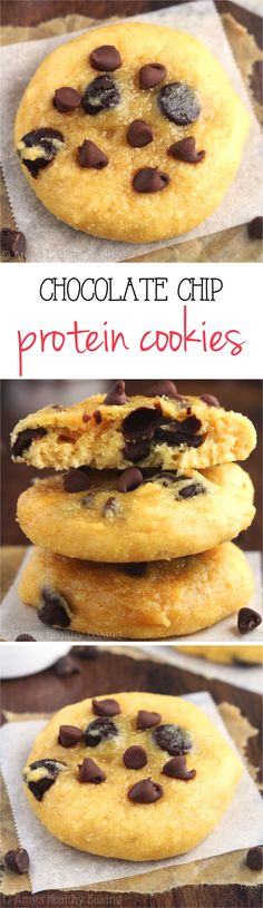Clean Eating Chocolate Chip Protein Cookies -- this healthy recipe has less than HALF the carbs & 3x as much protein vs. regular cookies!